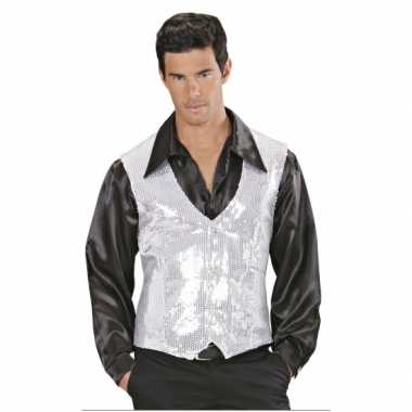 Zilver heren vestje met paillettencarnavalskleding