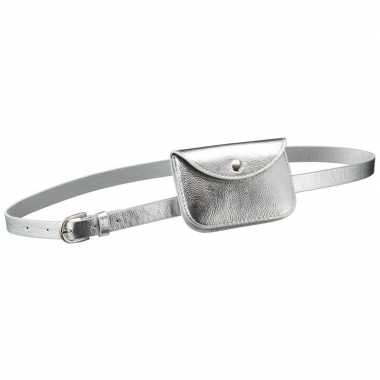 Zilver mini buideltasje aan riem voor damescarnavalskleding