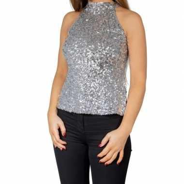 Zilveren glitter pailletten disco halter topje/ shirt damescarnavalsk