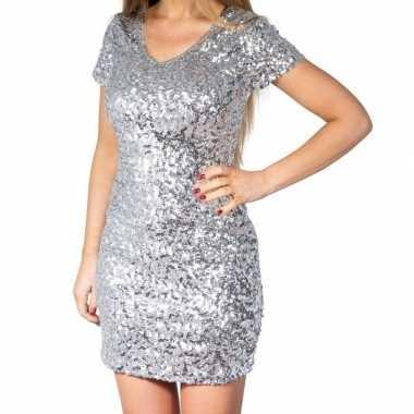 Zilveren glitter pailletten disco jurkje damescarnavalskleding