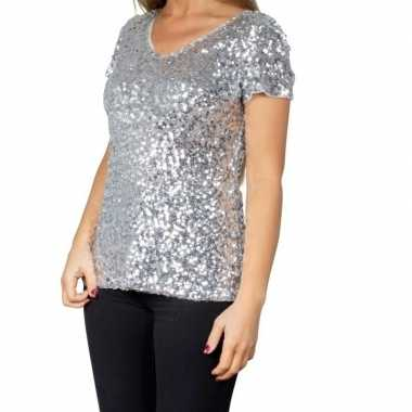 Zilveren glitter pailletten disco shirt damescarnavalskleding
