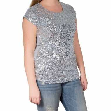 Zilveren glitter pailletten disco shirt dames l/xlcarnavalskleding