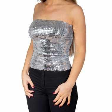 Zilveren glitter pailletten disco strapless topje/ shirt damescarnava