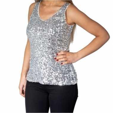 Zilveren glitter pailletten disco topje/ mouwloos shirt damescarnaval