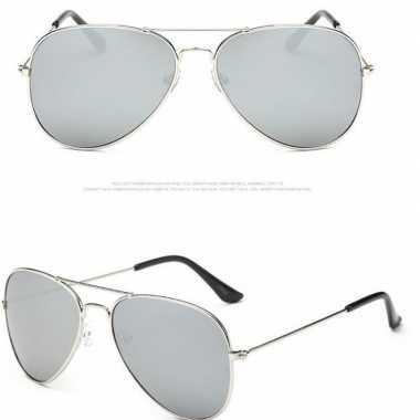 Zilveren pilotenbril voor dames/herencarnavalskleding