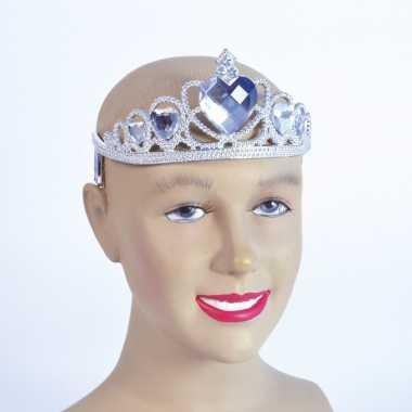 Zilveren tiara met zilveren stenencarnavalskleding