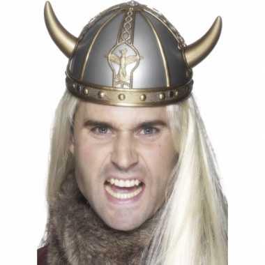 Zilveren viking helm met hoornscarnavalskleding