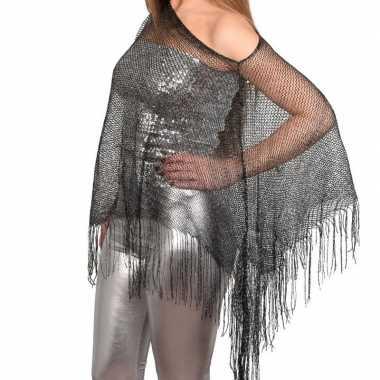 Zilveren visnet poncho/ omslagdoek/ stola damescarnavalskleding