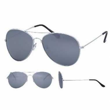Zilverkleurige pilotenbril voor volwassenencarnavalskleding