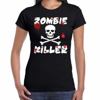 Zombie killer halloween t-shirt zwart damescarnavalskleding