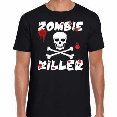 Zombie killer halloween t-shirt zwart heren carnavalskleding
