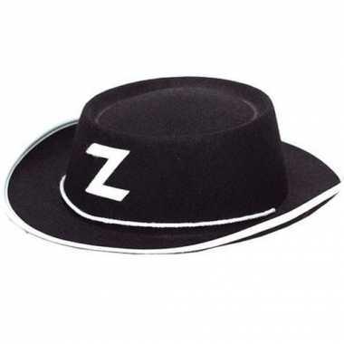 Zorro hoedje van zwart vilt kidscarnavalskleding