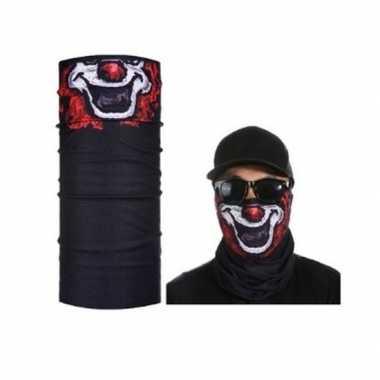 Zwart biker masker clownprint voor volwassennencarnavalskleding