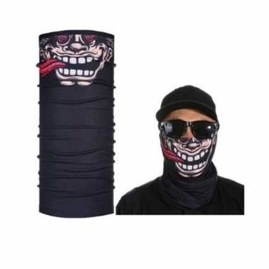Zwart biker masker grappig/funny gezichtprint voor volwassennencarnav