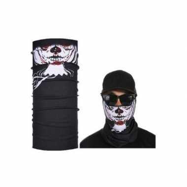 Zwart biker masker skeletprint voor volwassennencarnavalskleding