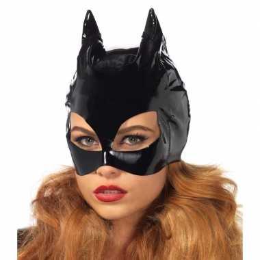 Zwart catwoman masker van vinyl carnavalskleding