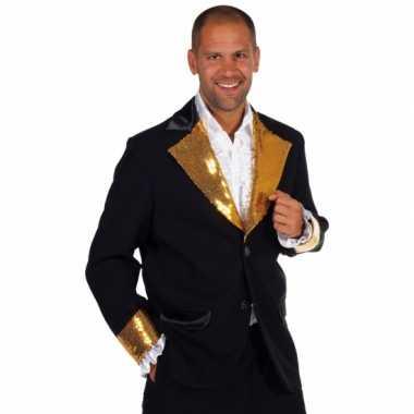 Zwart goud glitter jas heren carnavalskleding