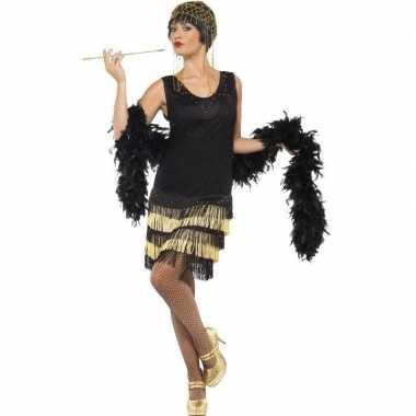 Zwart/gouden jaren 20 flapper jurk voor damescarnavalskleding