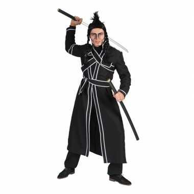 Zwart japanse vechtsport verkleed kostuum voor herencarnavalskleding