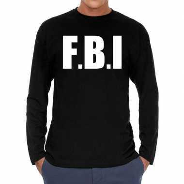 Zwart long sleeve shirt met f.b.i. bedrukking herencarnavalskleding