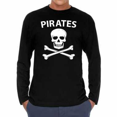 Zwart long sleeve shirt met pirates bedrukking herencarnavalskleding