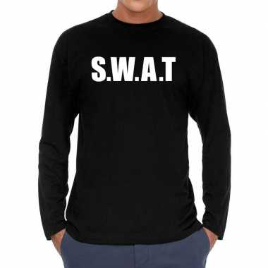 Zwart long sleeve shirt met s.w.a.t. bedrukking herencarnavalskleding