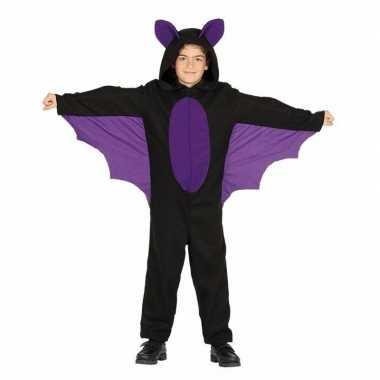 Zwart met paars carnaval vleermuizenpak voor jongenscarnavalskleding