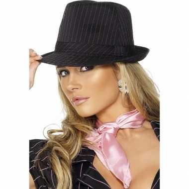 Zwart met roze maffia hoedcarnavalskleding