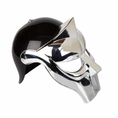 Zwart met zilveren gladiator helmcarnavalskleding
