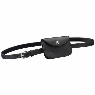 Zwart mini buideltasje aan riem voor damescarnavalskleding