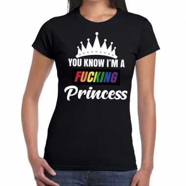 Zwart you know i am a fucking princess gay pride t-shirt damescarnava