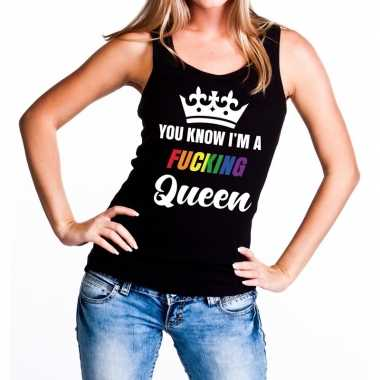 Zwart you know i am a fucking queen tanktop damescarnavalskleding