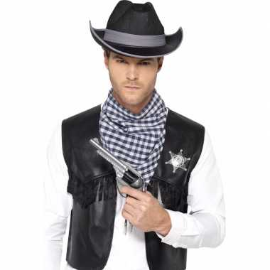 Zwarte cowboy verkleedaccessoires set voor heren carnavalskleding