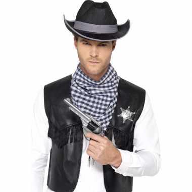 Zwarte cowboy verkleedaccessoires set voor herencarnavalskleding