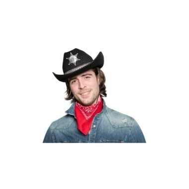 Zwarte cowgirlhoed / cowboyhoed met sheriff stercarnavalskleding