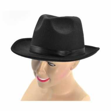Zwarte gangster hoed met bandcarnavalskleding
