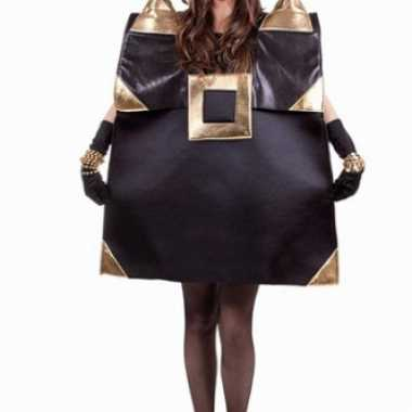 Zwarte handtas kostuum met gouden detailscarnavalskleding