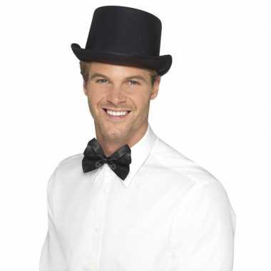 Zwarte hoge hoed satijn look voor mannencarnavalskleding