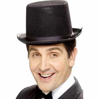 Zwarte hoge hoeden vilt voor mannencarnavalskleding