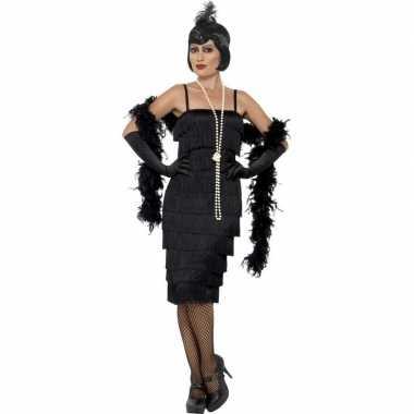 Zwarte jaren 20 flapper jurk lang voor damescarnavalskleding