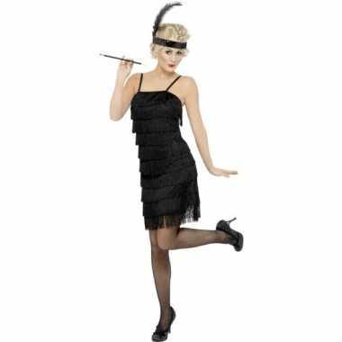 Zwarte jaren 20 flapper jurk voor damescarnavalskleding