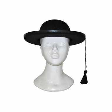 Zwarte kapelaan hoed carnavalskleding