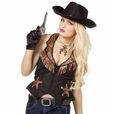 Zwarte met bruin cowboy vest voor damescarnavalskleding