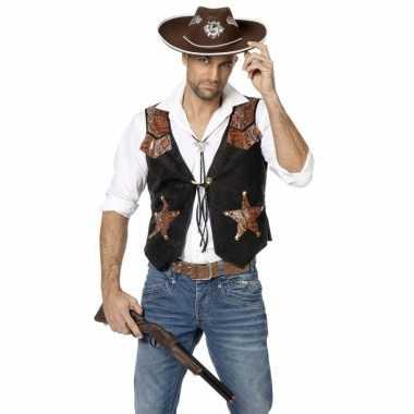Zwarte met bruin cowboy vest voor herencarnavalskleding