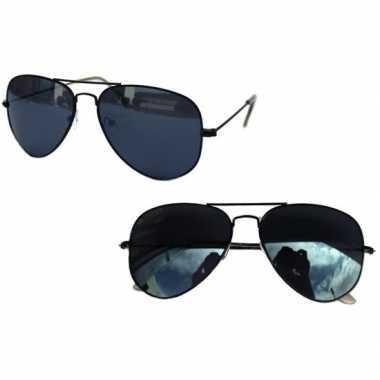 Zwarte pilotenbril voor dames/herencarnavalskleding