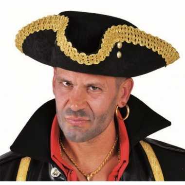 Zwarte piraat hoed deluxecarnavalskleding