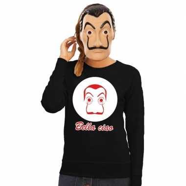 Zwarte salvador dali sweater met la casa de papel masker damescarnava