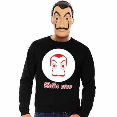 Zwarte salvador dali sweater met la casa de papel masker herencarnava