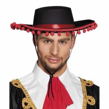 Zwarte spaanse hoed met roodcarnavalskleding