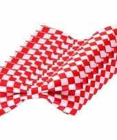 10x carnaval feest vlinderstrik vlinderdas rood wit geblokt 12 cm verkleedaccessoire voor volwassenen carnavalskleding